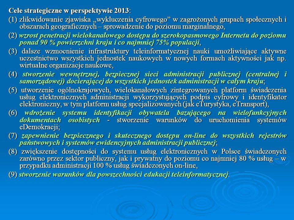 Cele strategiczne w perspektywie 2013: