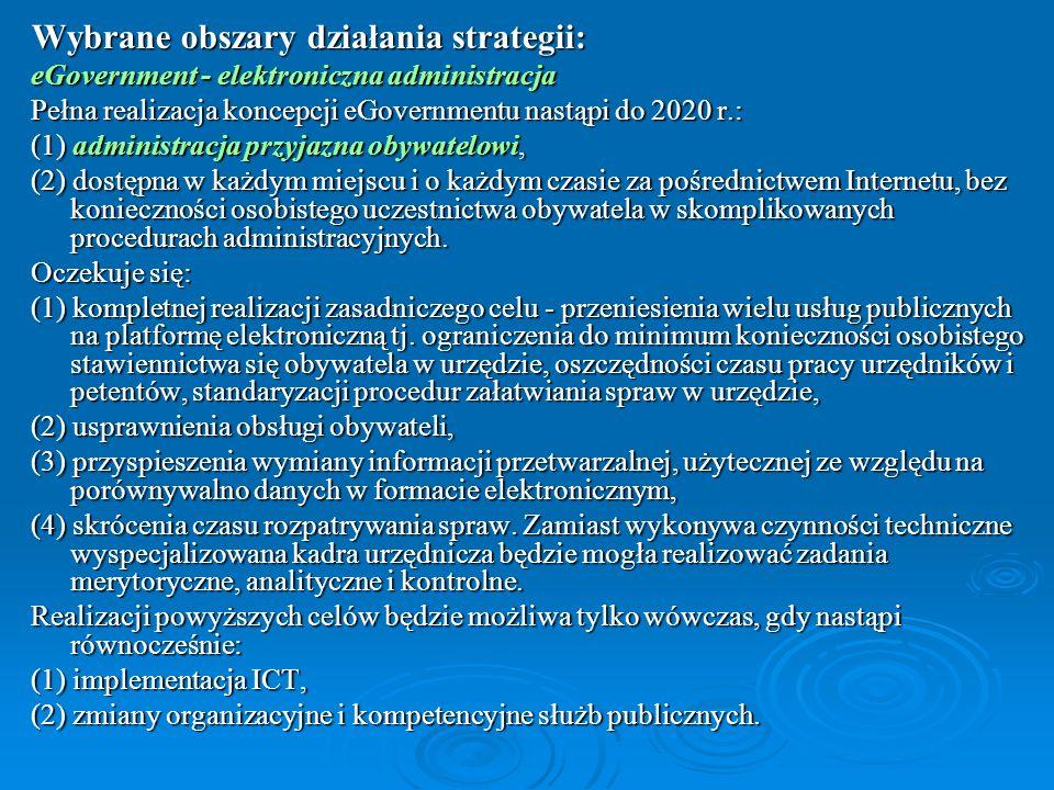 Wybrane obszary działania strategii:
