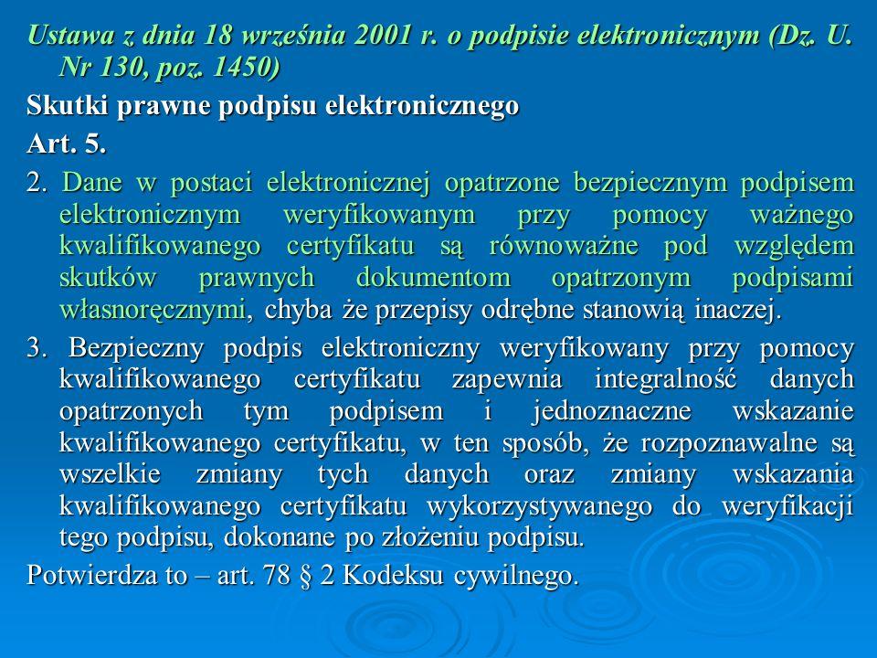 Ustawa z dnia 18 września 2001 r. o podpisie elektronicznym (Dz. U