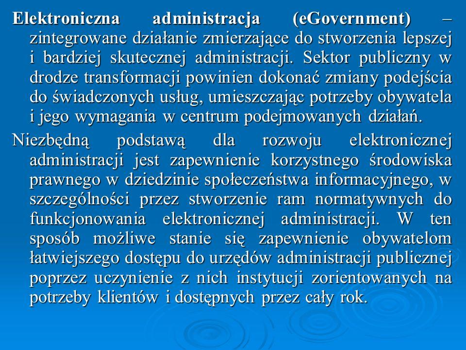 Elektroniczna administracja (eGovernment) – zintegrowane działanie zmierzające do stworzenia lepszej i bardziej skutecznej administracji. Sektor publiczny w drodze transformacji powinien dokonać zmiany podejścia do świadczonych usług, umieszczając potrzeby obywatela i jego wymagania w centrum podejmowanych działań.