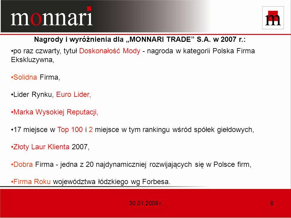 "Nagrody i wyróżnienia dla ""MONNARI TRADE S.A. w 2007 r.:"