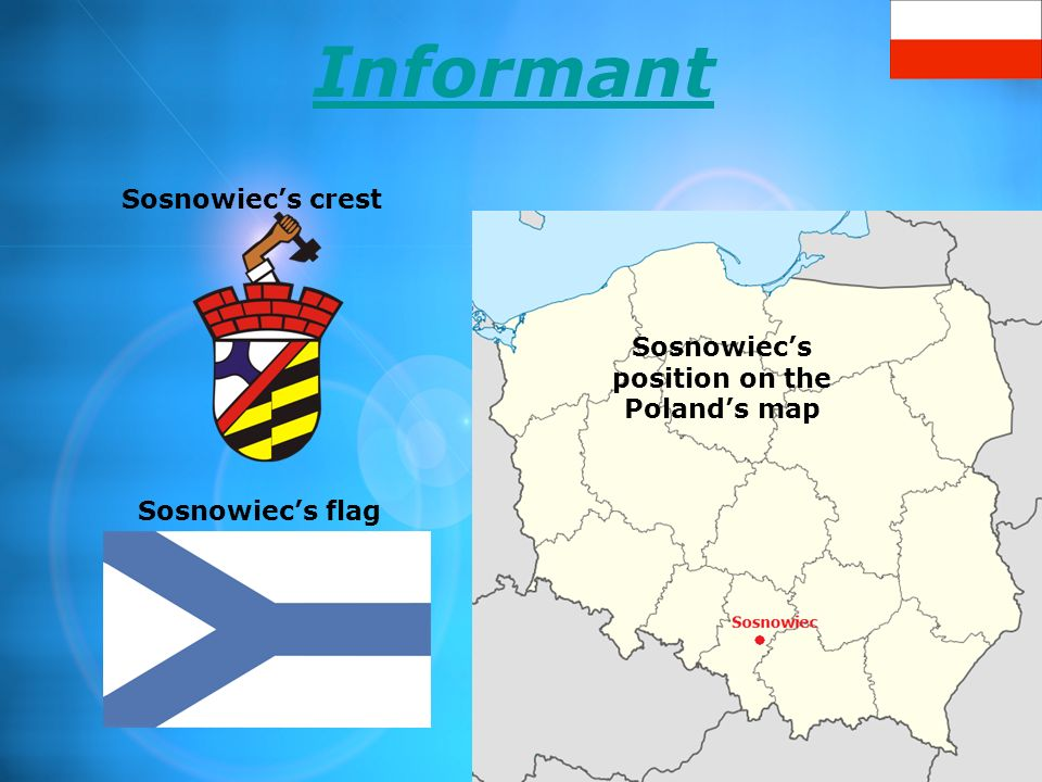 Sosnowiec's position on the Poland's map