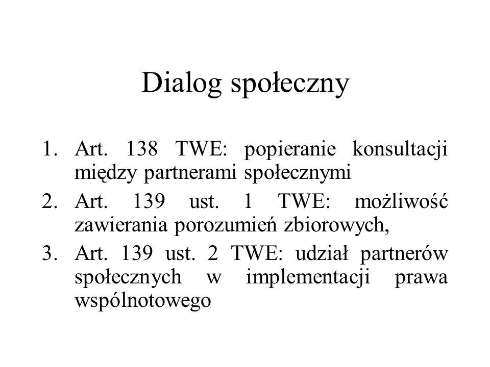 Dialog społecznyArt. 138 TWE: popieranie konsultacji między partnerami społecznymi. Art. 139 ust. 1 TWE: możliwość zawierania porozumień zbiorowych,