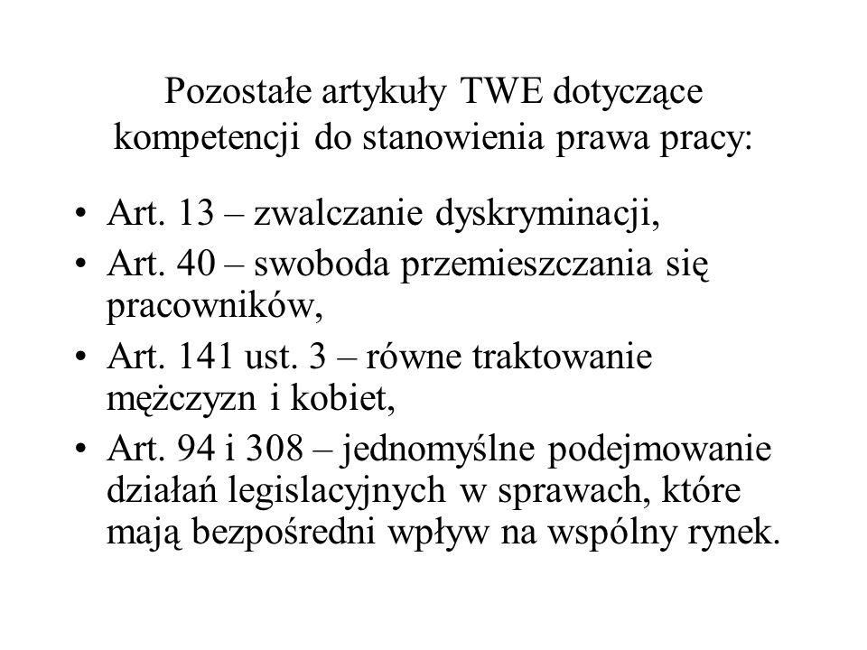 Pozostałe artykuły TWE dotyczące kompetencji do stanowienia prawa pracy: