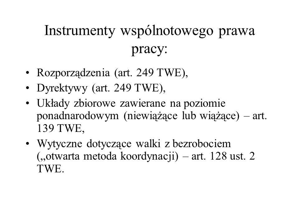 Instrumenty wspólnotowego prawa pracy: