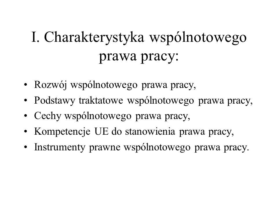 I. Charakterystyka wspólnotowego prawa pracy: