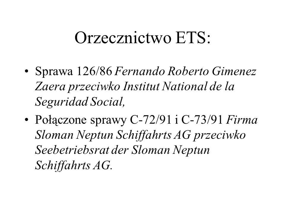 Orzecznictwo ETS: Sprawa 126/86 Fernando Roberto Gimenez Zaera przeciwko Institut National de la Seguridad Social,