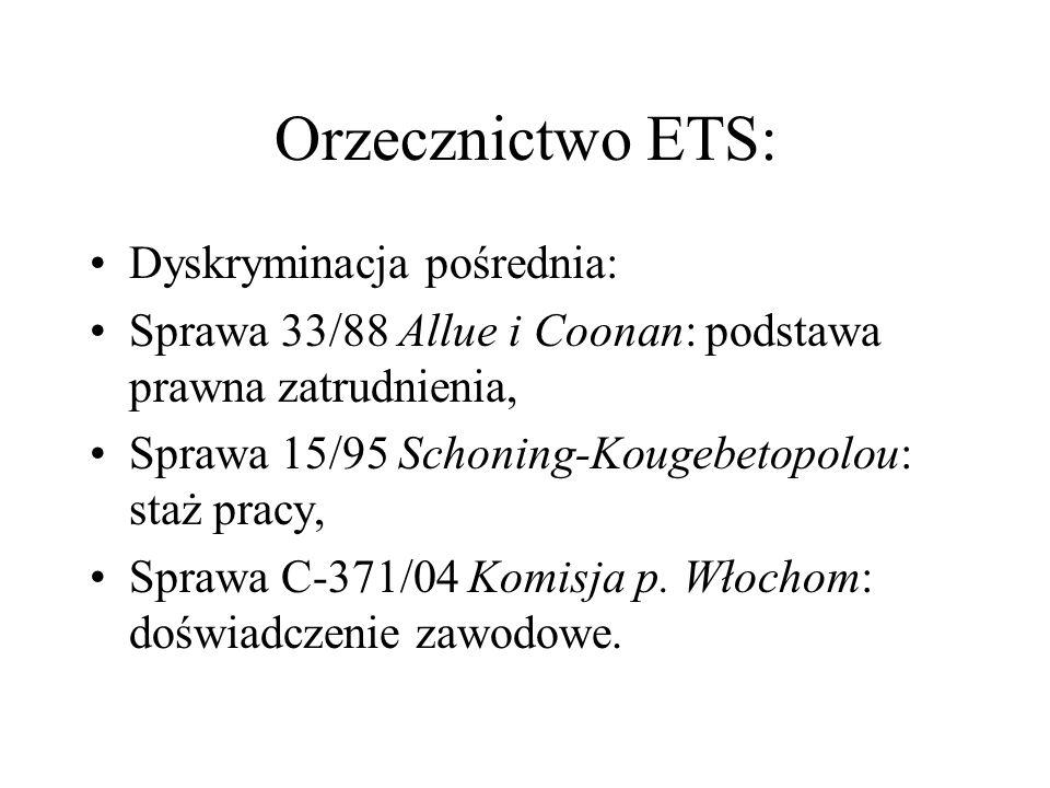 Orzecznictwo ETS: Dyskryminacja pośrednia:
