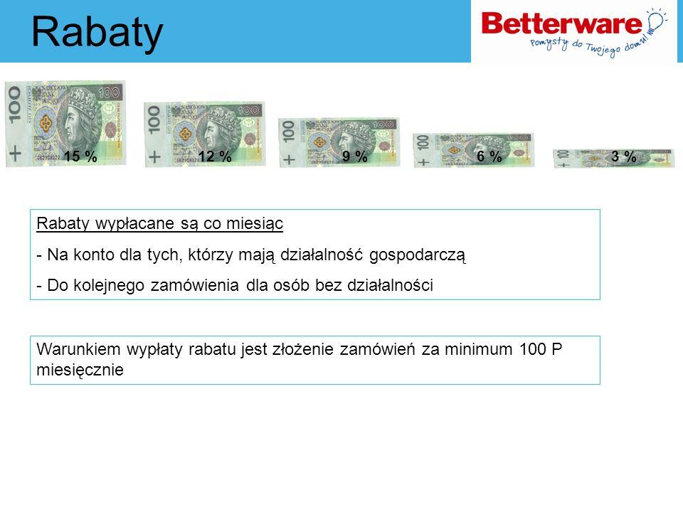 Rabaty Rabaty wypłacane są co miesiąc