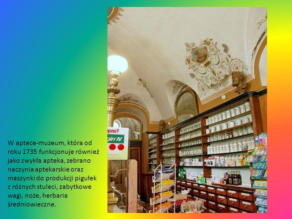 W aptece-muzeum, która od roku 1735 funkcjonuje również jako zwykła apteka, zebrano naczynia aptekarskie oraz maszynki do produkcji pigułek z różnych stuleci, zabytkowe wagi, noże, herbaria średniowieczne.