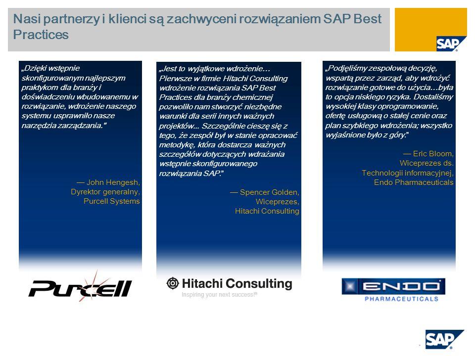 Nasi partnerzy i klienci są zachwyceni rozwiązaniem SAP Best Practices