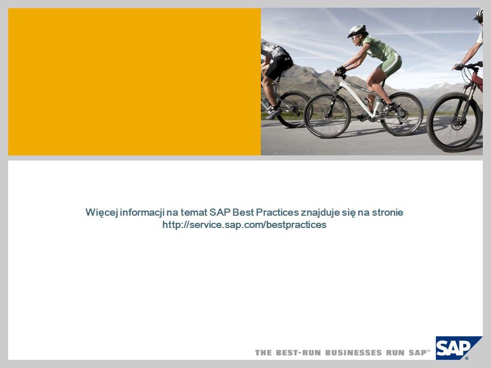 SAP TechEd '04 Więcej informacji na temat SAP Best Practices znajduje się na stronie http://service.sap.com/bestpractices.