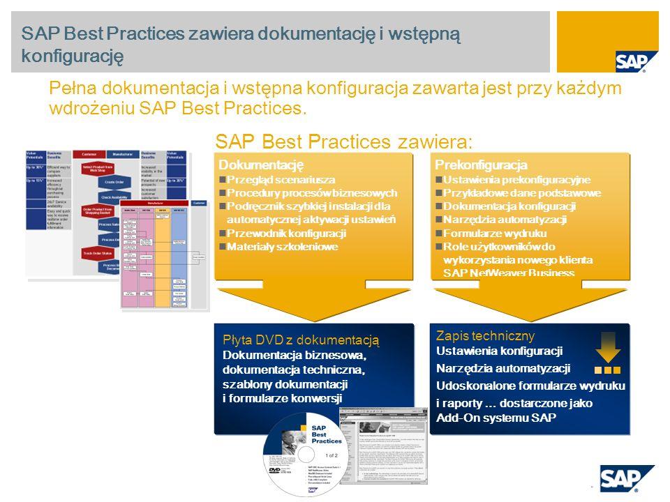 SAP Best Practices zawiera dokumentację i wstępną konfigurację