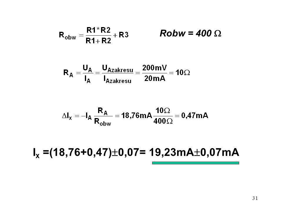 Robw = 400  Ix =(18,76+0,47)0,07= 19,23mA0,07mA