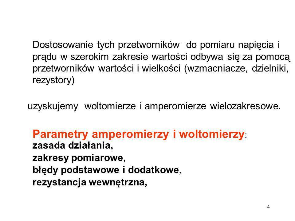 Parametry amperomierzy i woltomierzy: