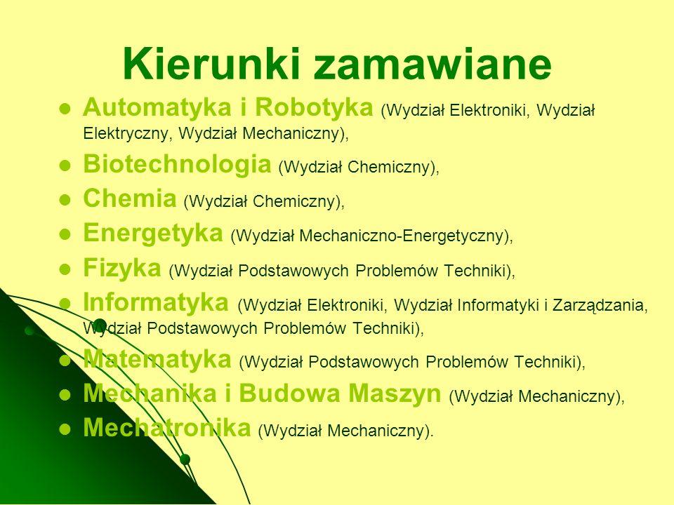 Kierunki zamawiane Automatyka i Robotyka (Wydział Elektroniki, Wydział Elektryczny, Wydział Mechaniczny),