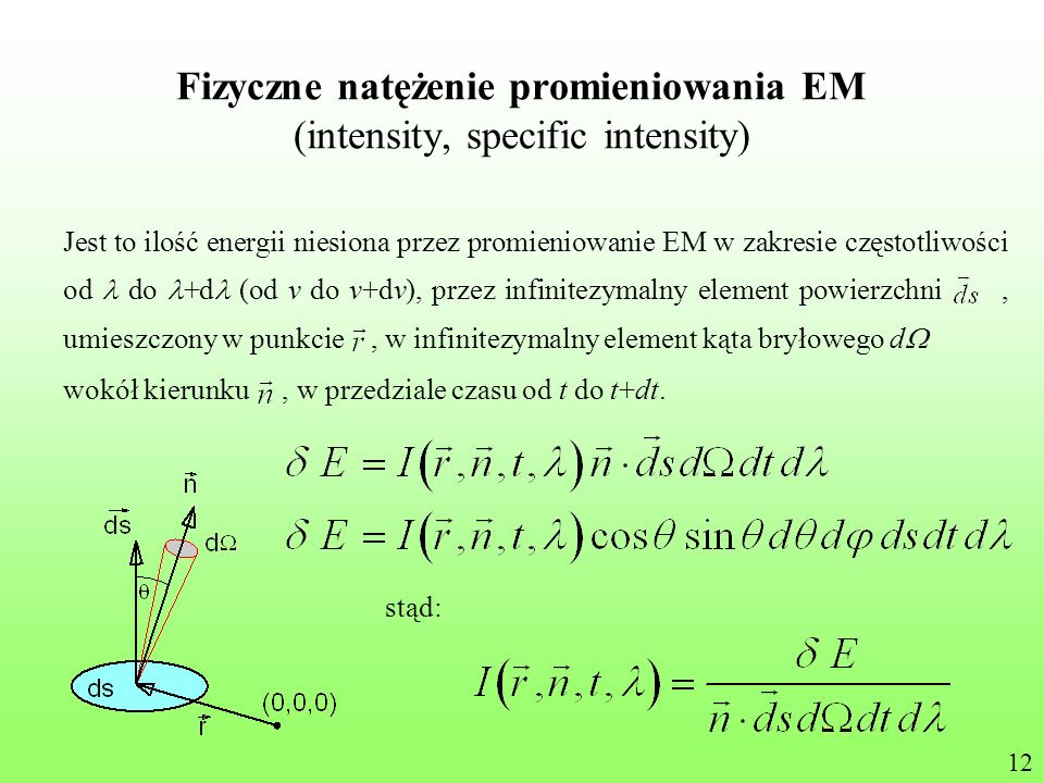 Fizyczne natężenie promieniowania EM (intensity, specific intensity)