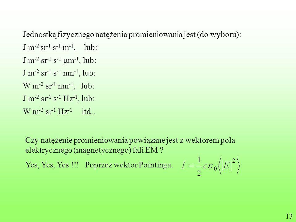 Jednostką fizycznego natężenia promieniowania jest (do wyboru):