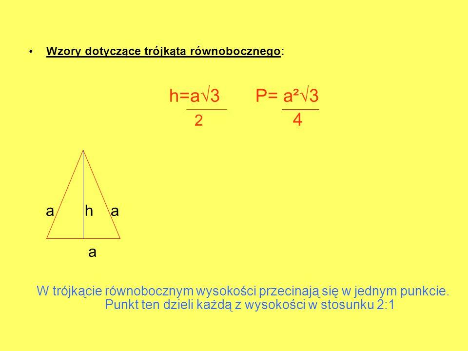 Wzory dotyczące trójkąta równobocznego: