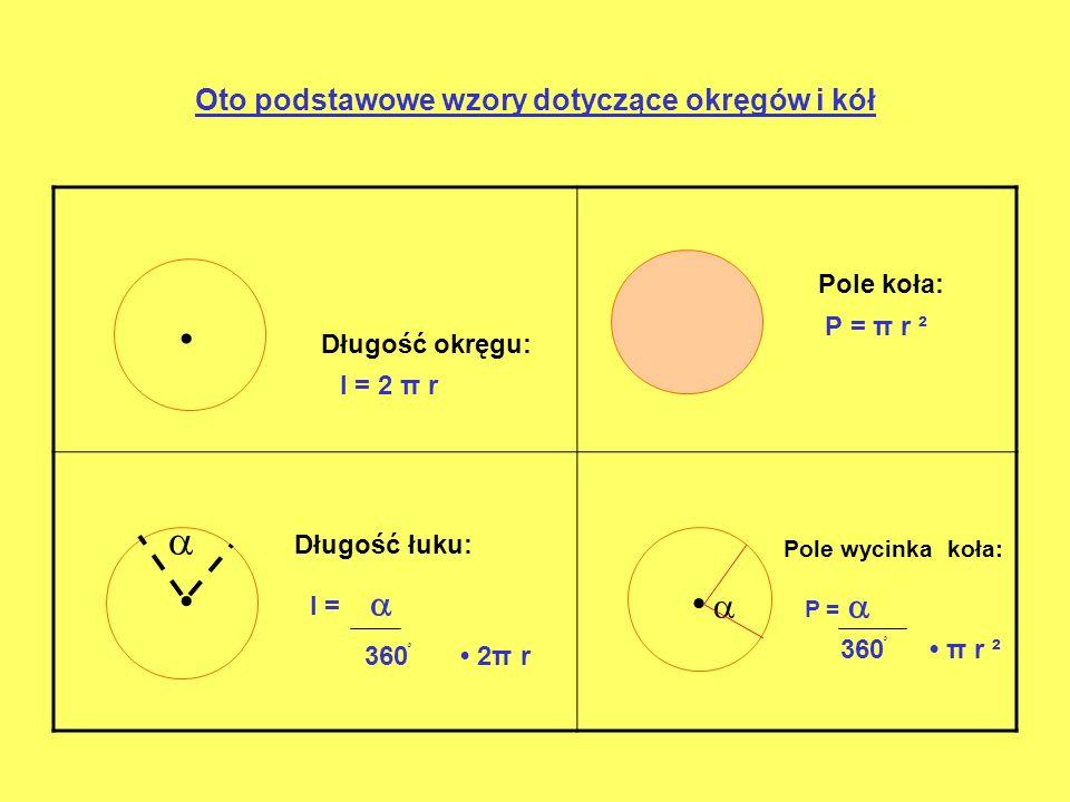 Oto podstawowe wzory dotyczące okręgów i kół