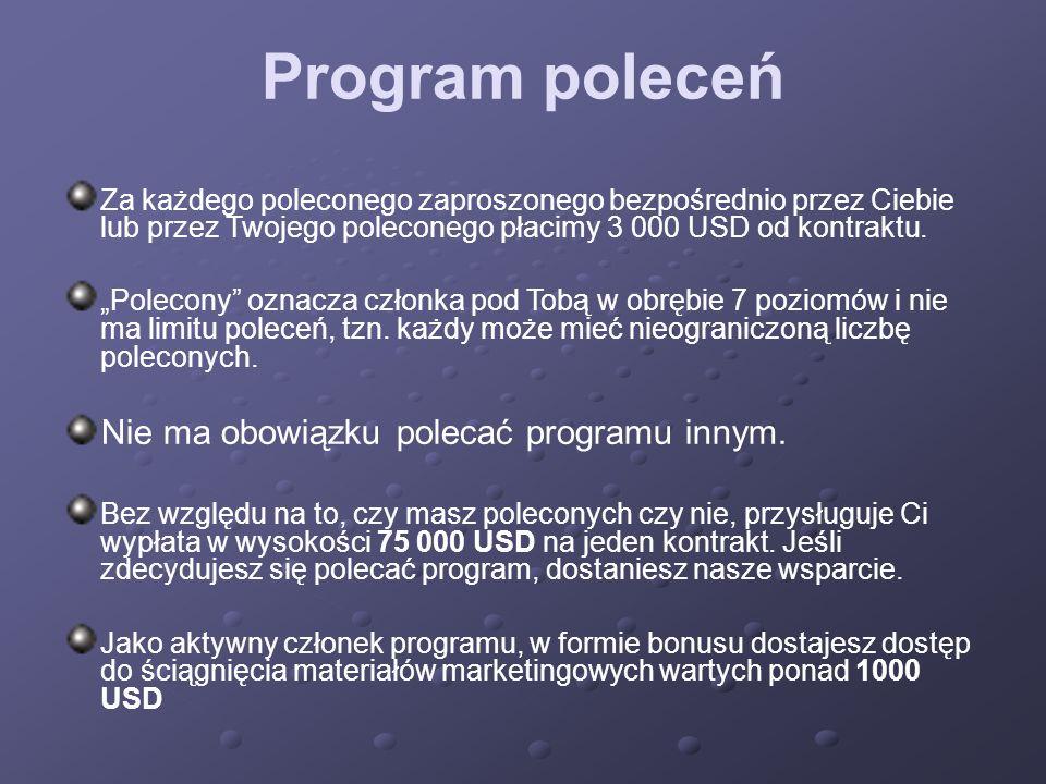 Program poleceń Nie ma obowiązku polecać programu innym.