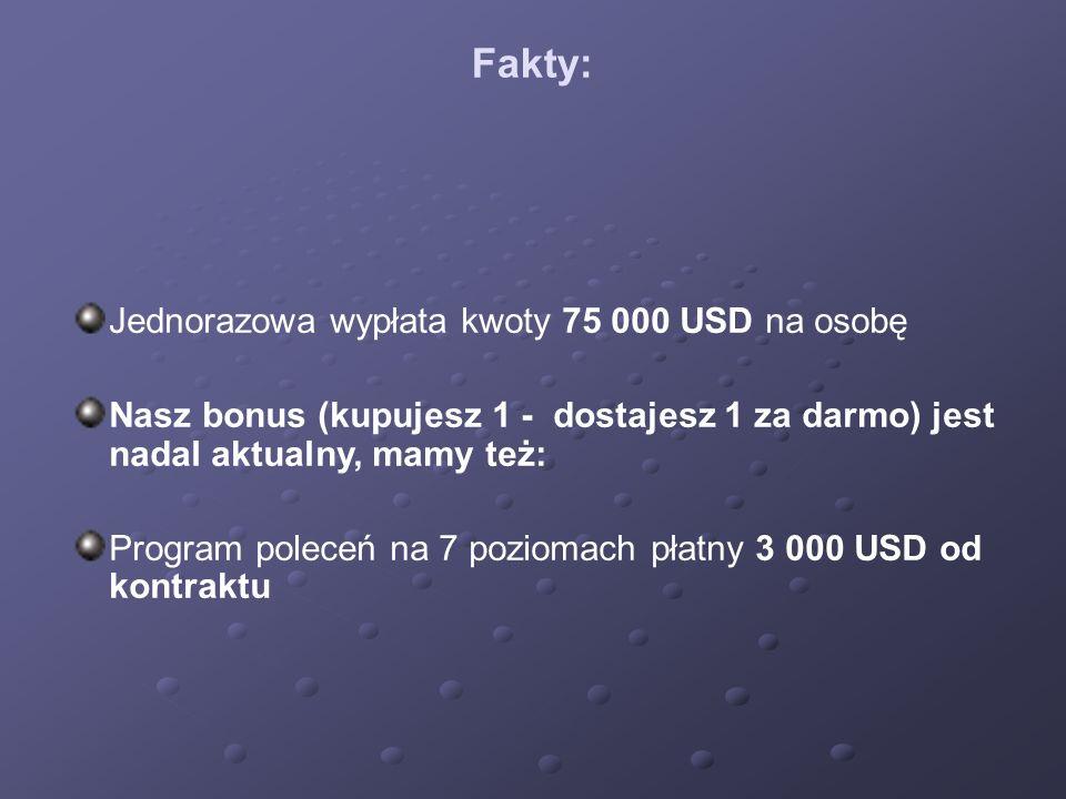 Fakty: Jednorazowa wypłata kwoty 75 000 USD na osobę