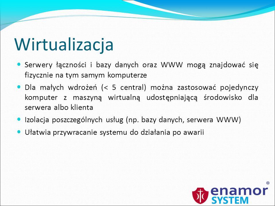 Wirtualizacja Serwery łączności i bazy danych oraz WWW mogą znajdować się fizycznie na tym samym komputerze.