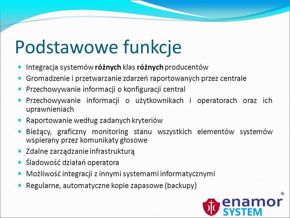 Podstawowe funkcje Integracja systemów różnych klas różnych producentów. Gromadzenie i przetwarzanie zdarzeń raportowanych przez centrale.