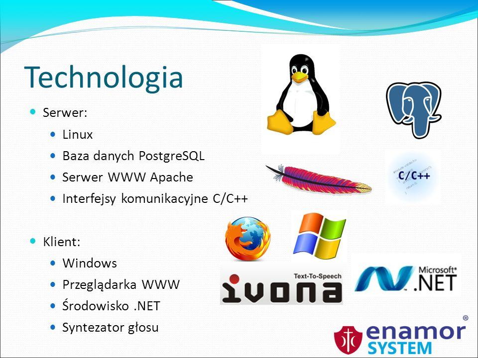 Technologia Serwer: Linux Baza danych PostgreSQL Serwer WWW Apache