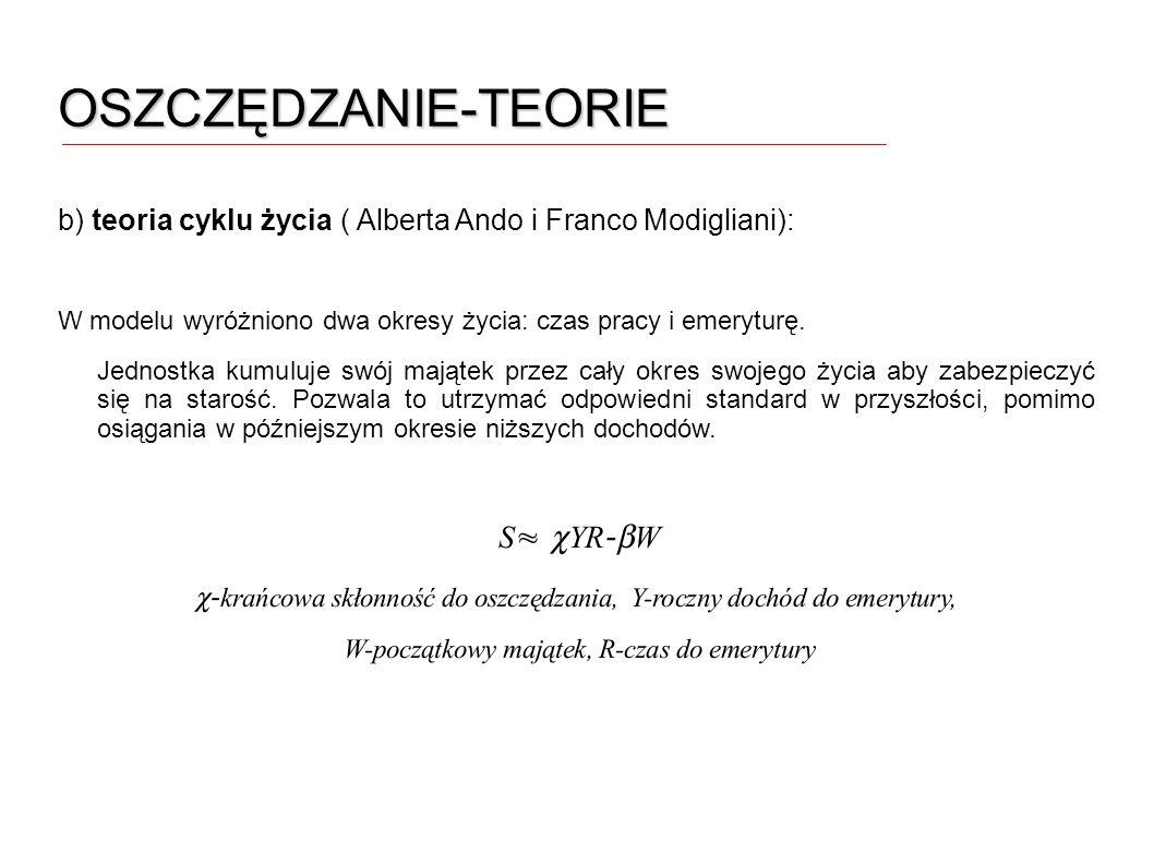 OSZCZĘDZANIE-TEORIE b) teoria cyklu życia ( Alberta Ando i Franco Modigliani): W modelu wyróżniono dwa okresy życia: czas pracy i emeryturę.