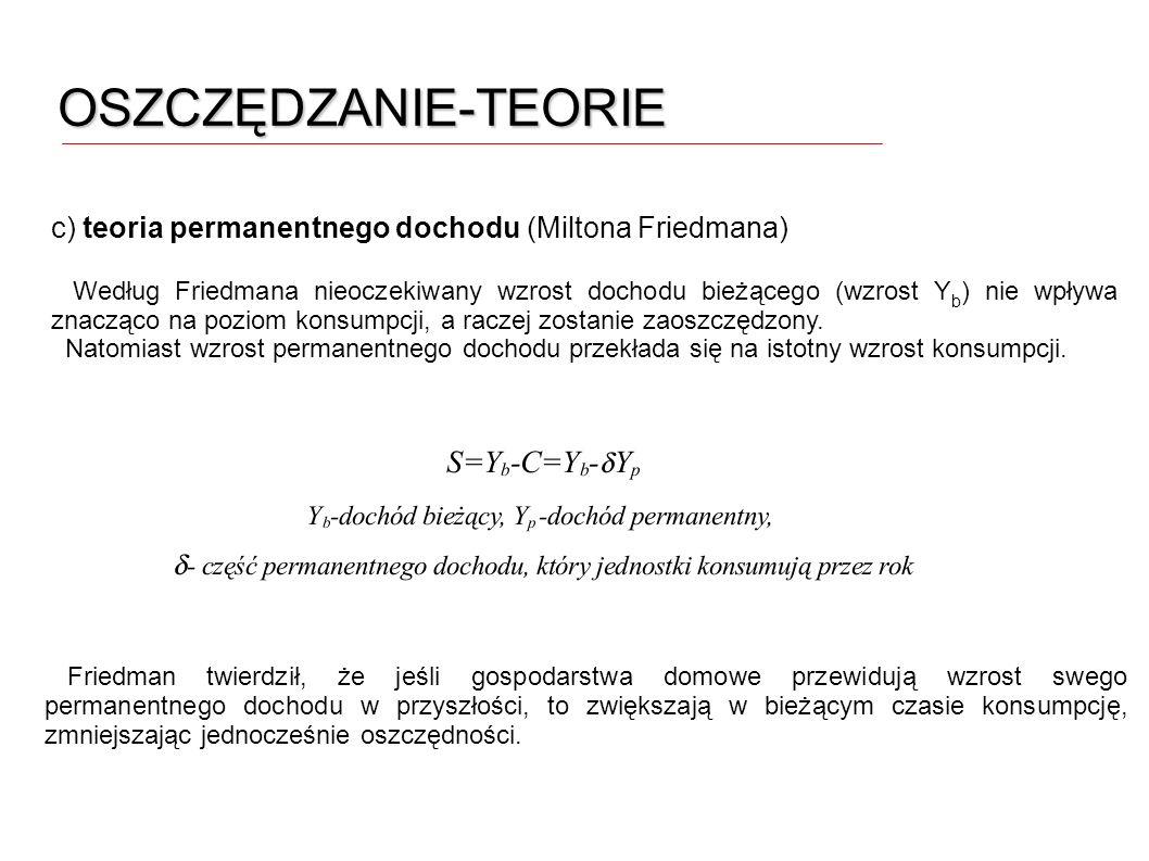 OSZCZĘDZANIE-TEORIE c) teoria permanentnego dochodu (Miltona Friedmana)