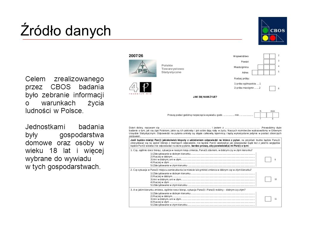 Źródło danych Celem zrealizowanego przez CBOS badania było zebranie informacji o warunkach życia ludności w Polsce.