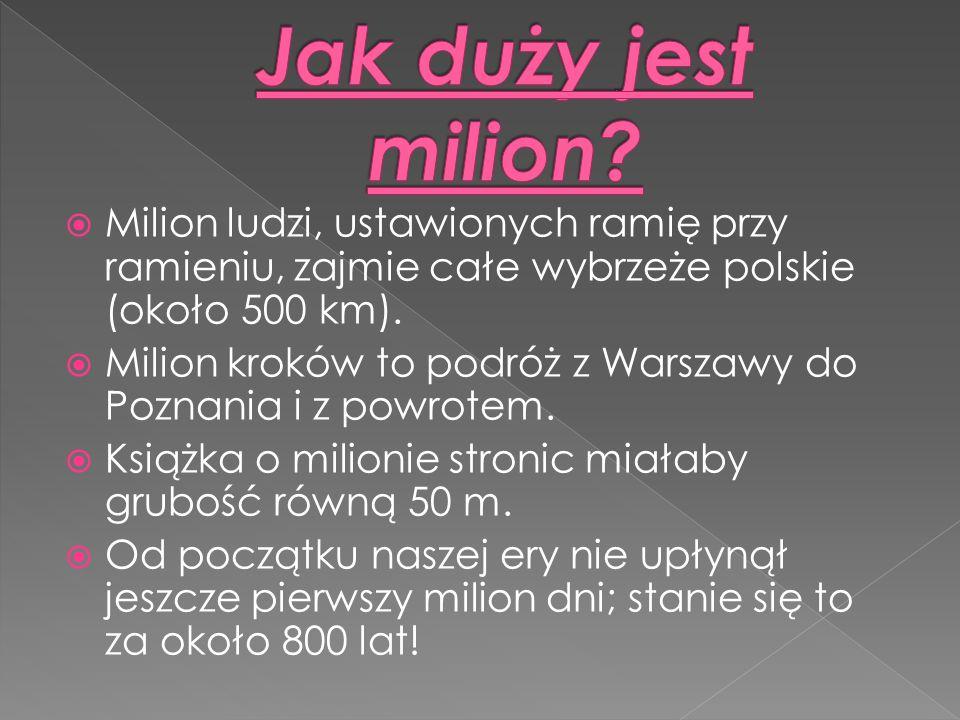 Jak duży jest milion Milion ludzi, ustawionych ramię przy ramieniu, zajmie całe wybrzeże polskie (około 500 km).