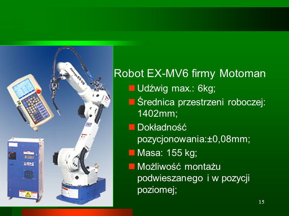 Robot EX-MV6 firmy Motoman