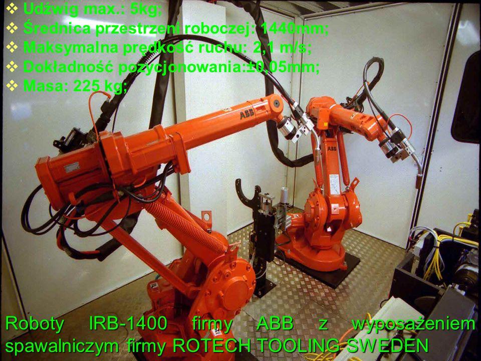 Udźwig max.: 5kg; Średnica przestrzeni roboczej: 1440mm; Maksymalna prędkość ruchu: 2,1 m/s; Dokładność pozycjonowania:±0,05mm;