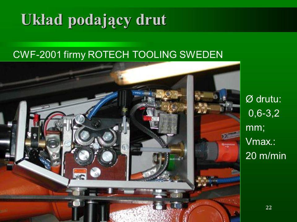 Układ podający drut CWF-2001 firmy ROTECH TOOLING SWEDEN Ø drutu: