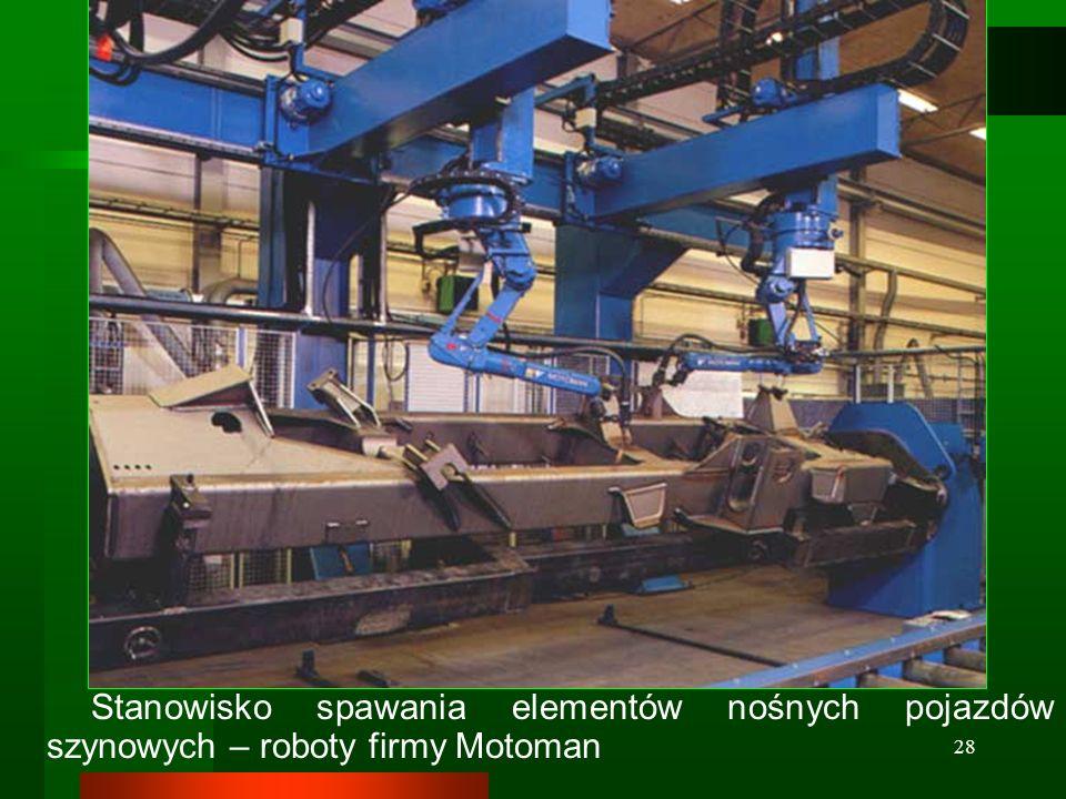 Stanowisko spawania elementów nośnych pojazdów szynowych – roboty firmy Motoman