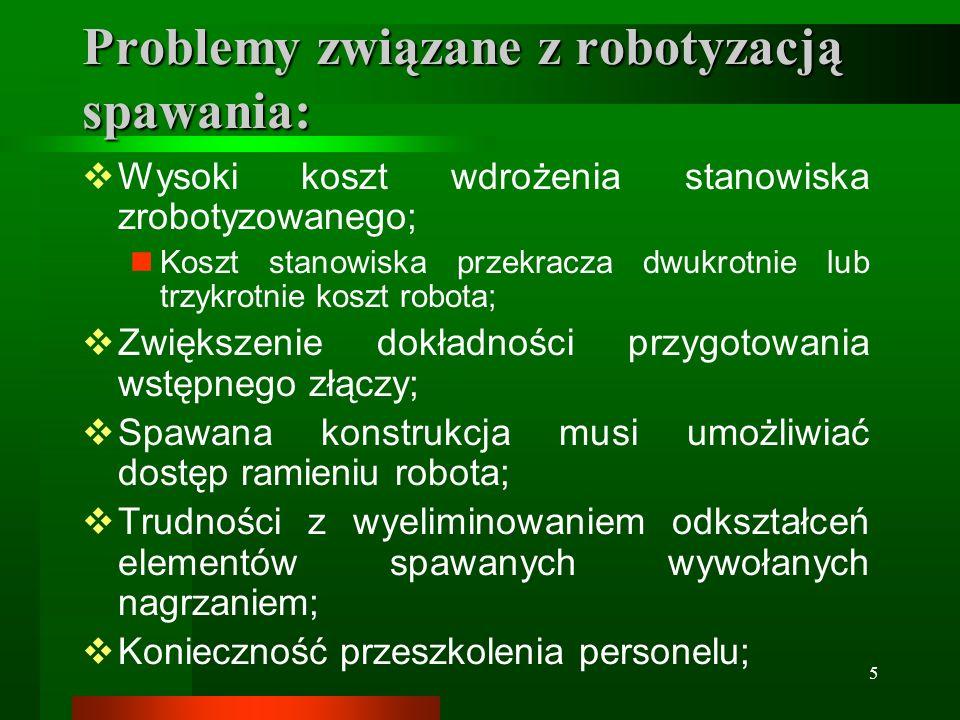 Problemy związane z robotyzacją spawania: