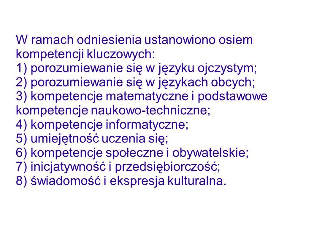 W ramach odniesienia ustanowiono osiem kompetencji kluczowych: