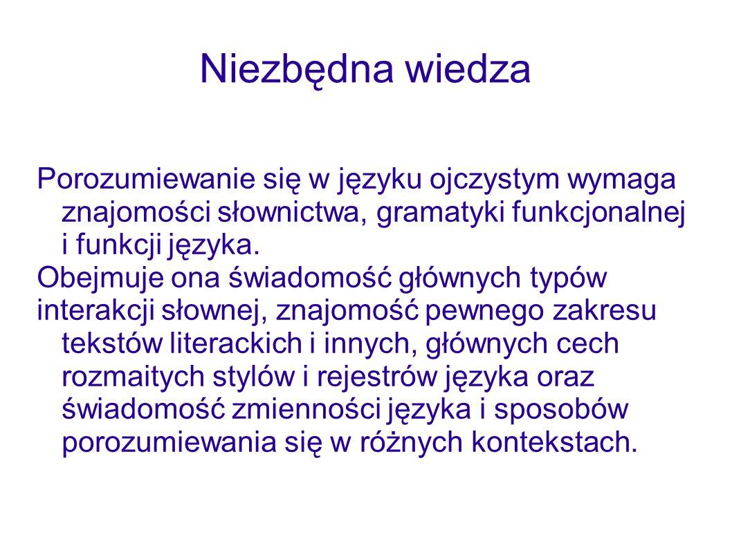 Niezbędna wiedzaPorozumiewanie się w języku ojczystym wymaga znajomości słownictwa, gramatyki funkcjonalnej i funkcji języka.