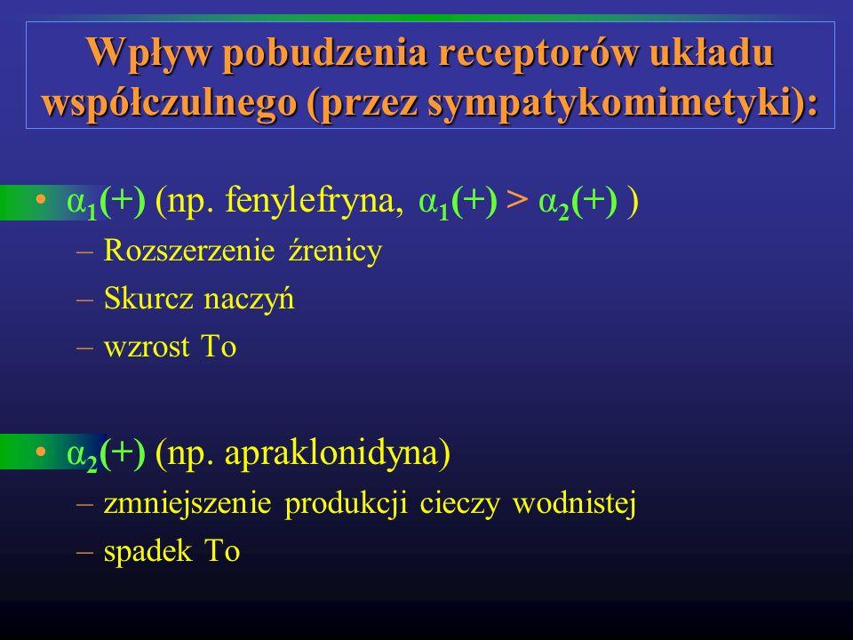 Wpływ pobudzenia receptorów układu współczulnego (przez sympatykomimetyki):