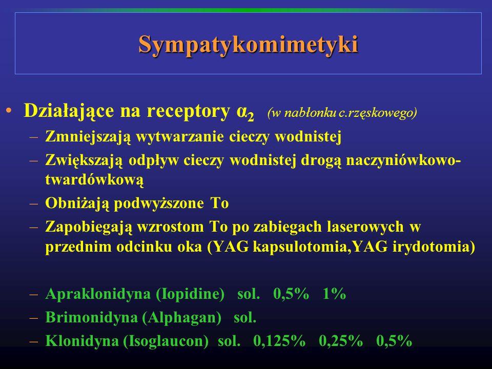 Sympatykomimetyki Działające na receptory α2 (w nabłonku c.rzęskowego)