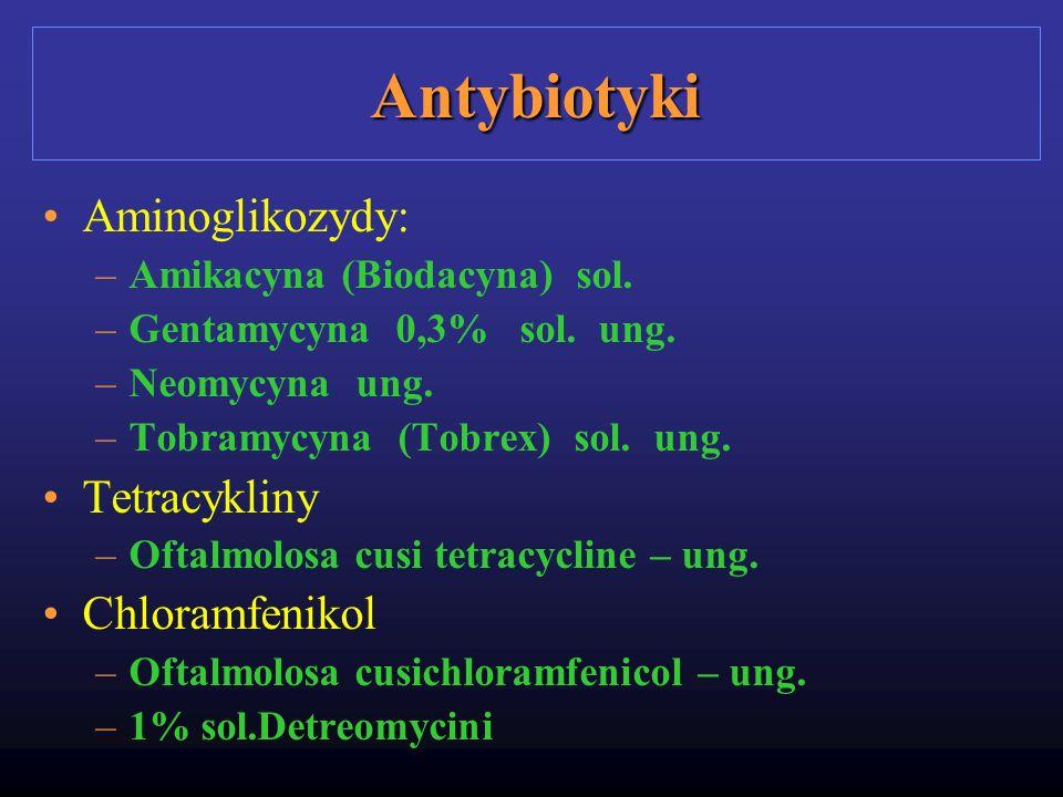 Antybiotyki Aminoglikozydy: Tetracykliny Chloramfenikol