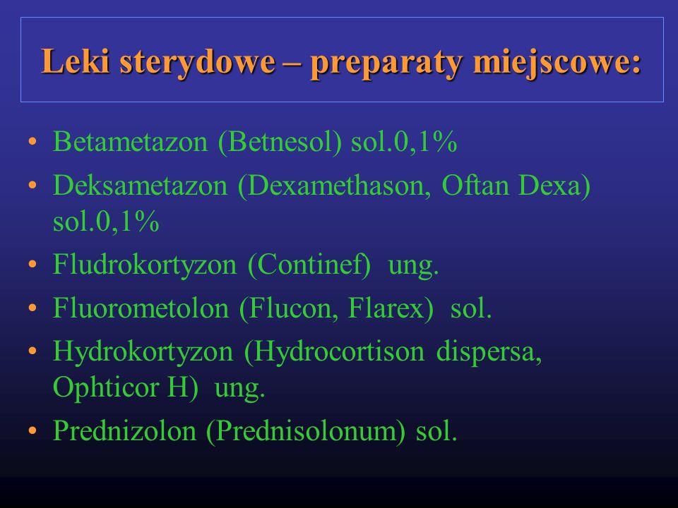 Leki sterydowe – preparaty miejscowe: