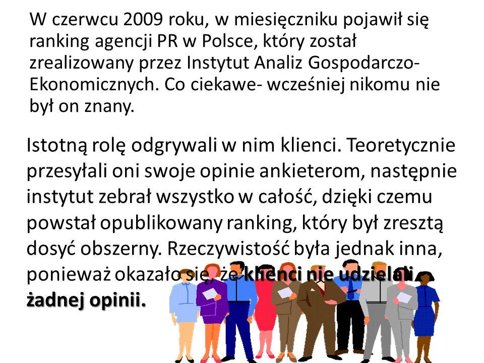 W czerwcu 2009 roku, w miesięczniku pojawił się ranking agencji PR w Polsce, który został zrealizowany przez Instytut Analiz Gospodarczo-Ekonomicznych. Co ciekawe- wcześniej nikomu nie był on znany.