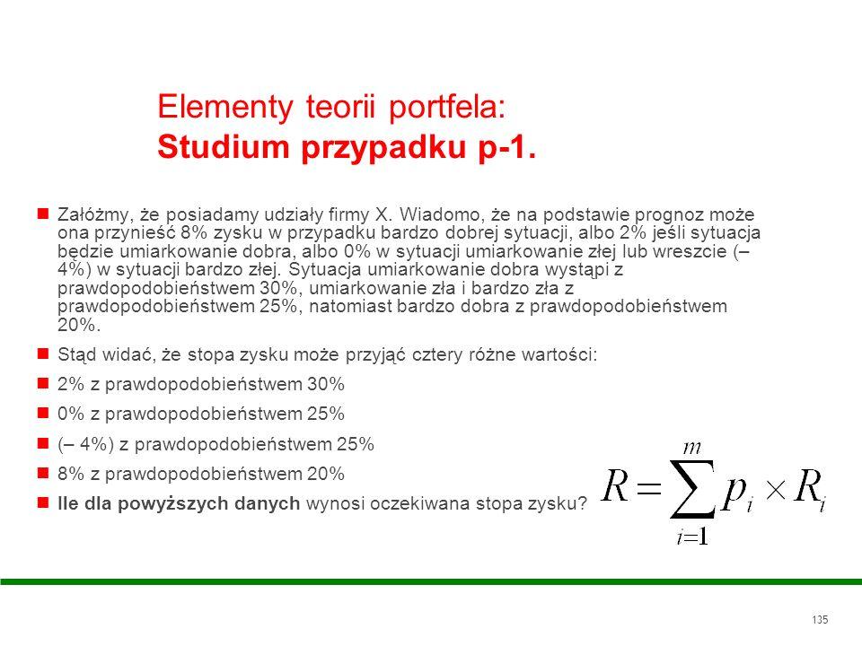 Elementy teorii portfela: Studium przypadku p-1.