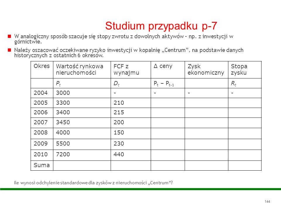 Studium przypadku p-7 W analogiczny sposób szacuje się stopy zwrotu z dowolnych aktywów – np. z inwestycji w górnictwie.