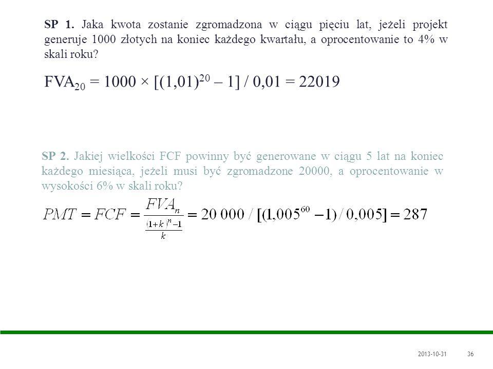 SP 1. Jaka kwota zostanie zgromadzona w ciągu pięciu lat, jeżeli projekt generuje 1000 złotych na koniec każdego kwartału, a oprocentowanie to 4% w skali roku
