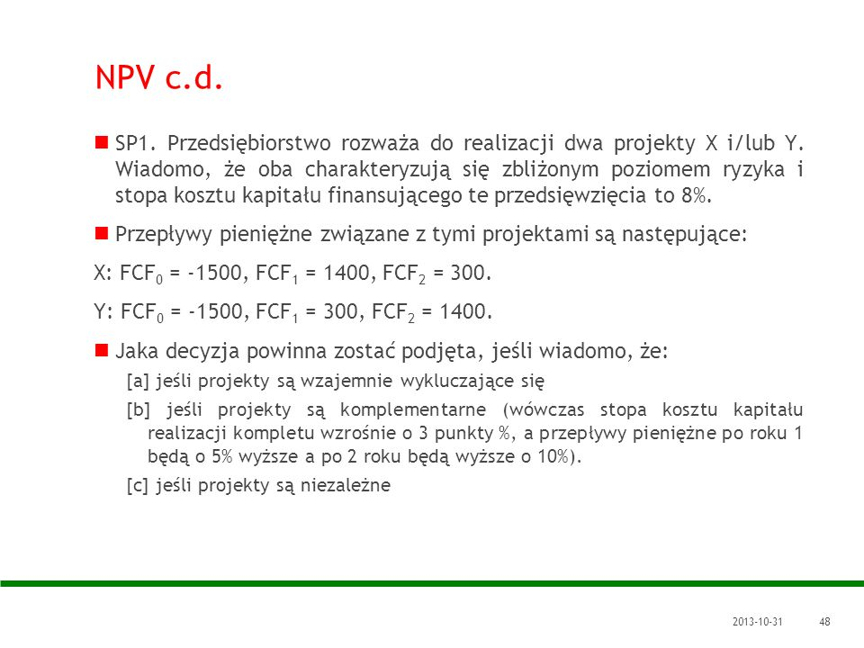 NPV c.d.