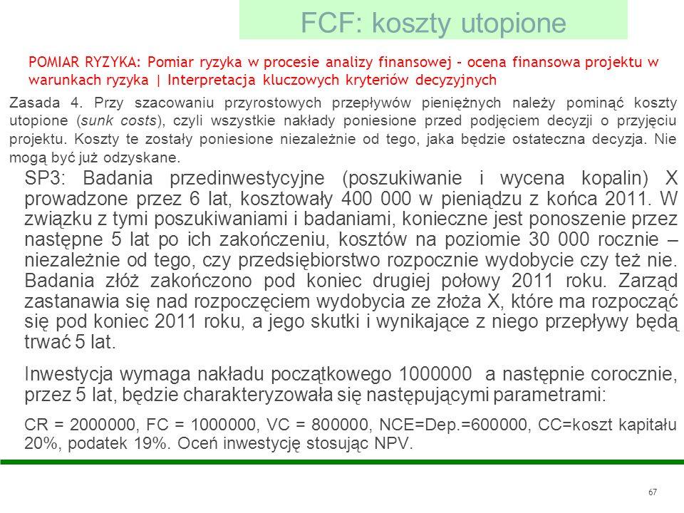 FCF: koszty utopione